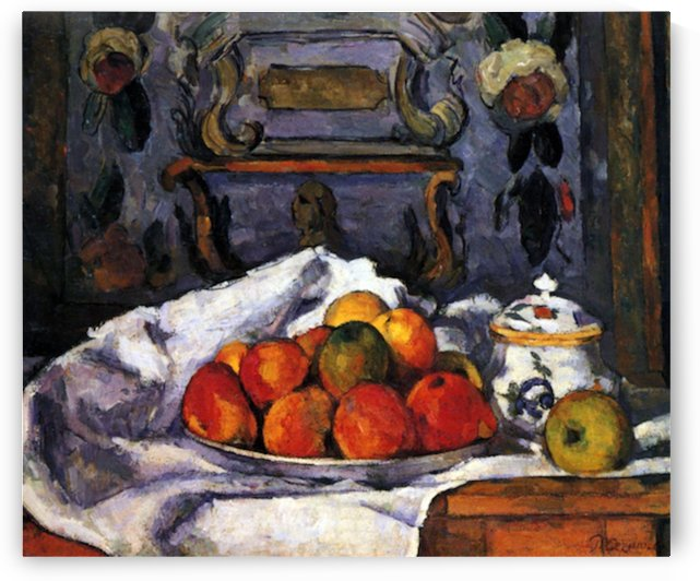 Still life, bowl of apples by Cezanne by Cezanne