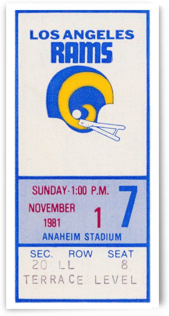 1981 Los Angeles Rams Ticket Stub Art by Row One Brand