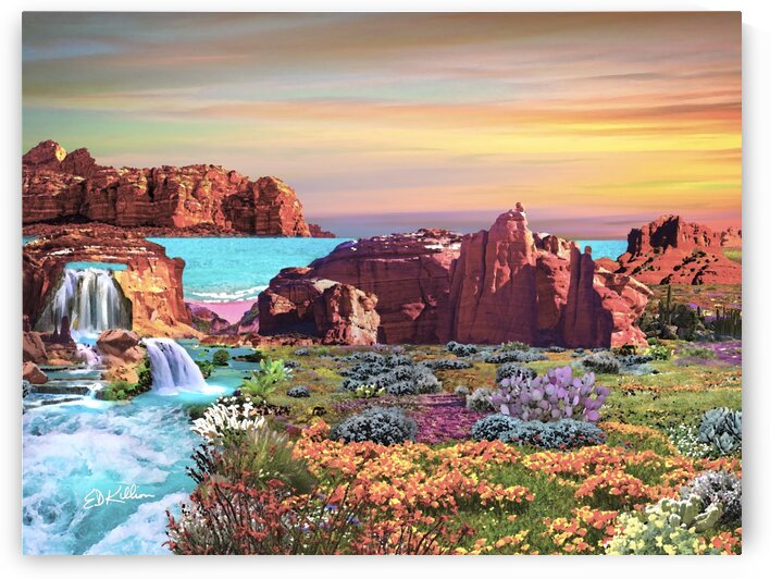 DESERT FALLS - oil by E D Killion