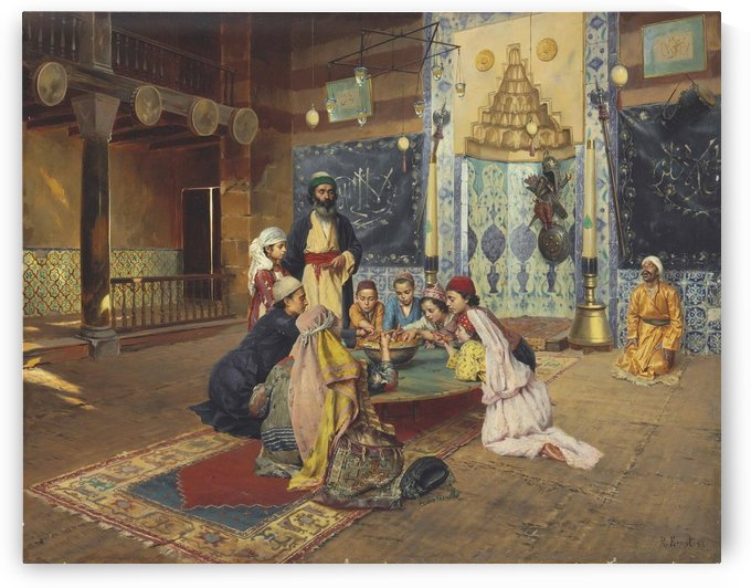 Meal among dervishes in Scutari by Rudolf Ernst