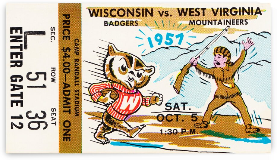 1957 Wisconsin vs. West Virginia Ticket Stub Art by Row One Brand