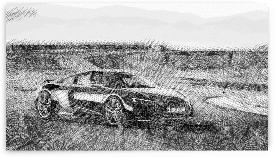 Audi R8 Modern Cars   Etching Poster by ASAR STUDIOS