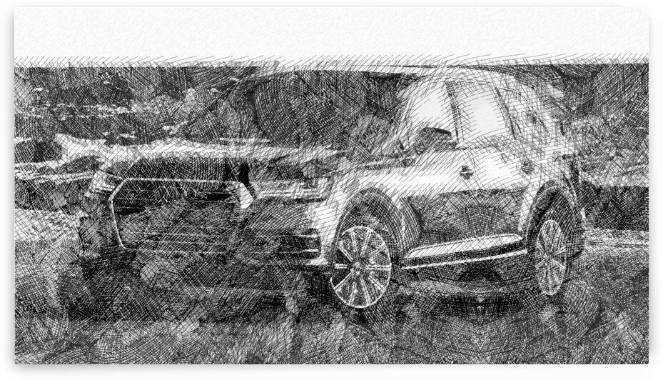 Audi Quattro Q7 Modern Cars   Etching Poster by ASAR STUDIOS