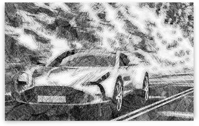 Aston Martin One 77 Modern Cars   Etching Poster by ASAR STUDIOS