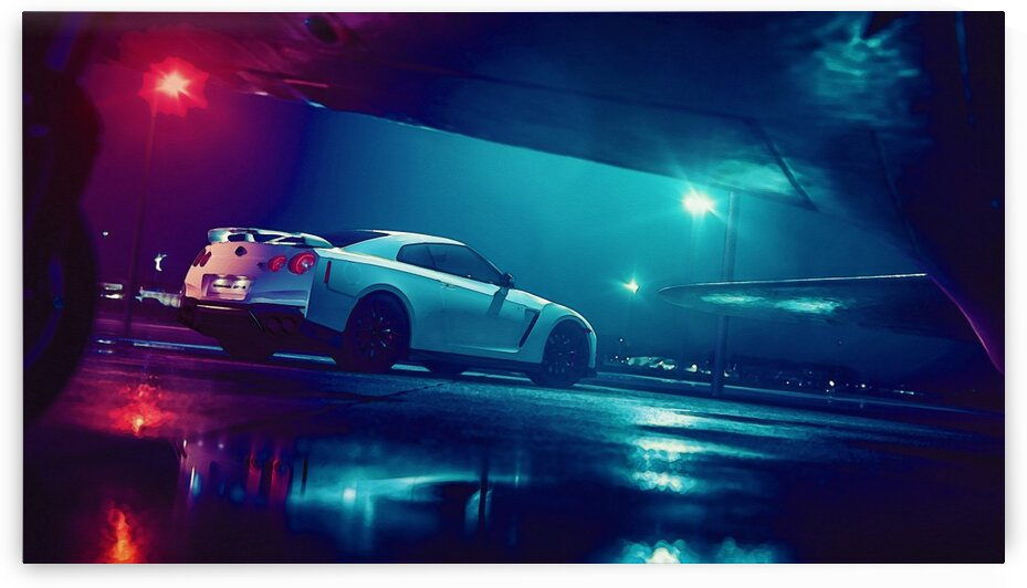 A6M2 ZERO With Nissan GTR C    Modern Cars Poster  watercolors ca 2020 by Ahmet Asar by ASAR STUDIOS