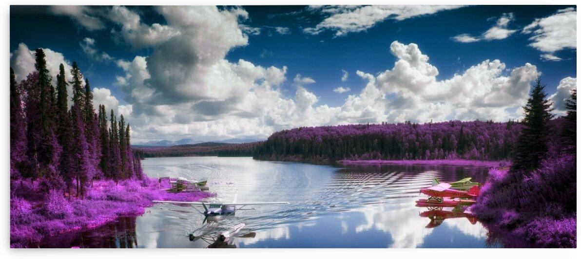Alaskan wilderness landscape   Talkeetna Lake   Infrared   Purple by ASAR STUDIOS
