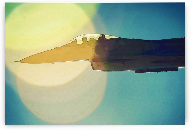 an F 16CM Fighting Falcon in watercolor ca 2020 by ASAR STUDIOS