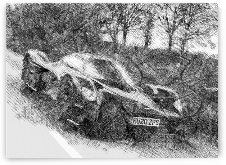 Aston Martin Valkyrie Modern Cars   Etching Poster by ASAR STUDIOS