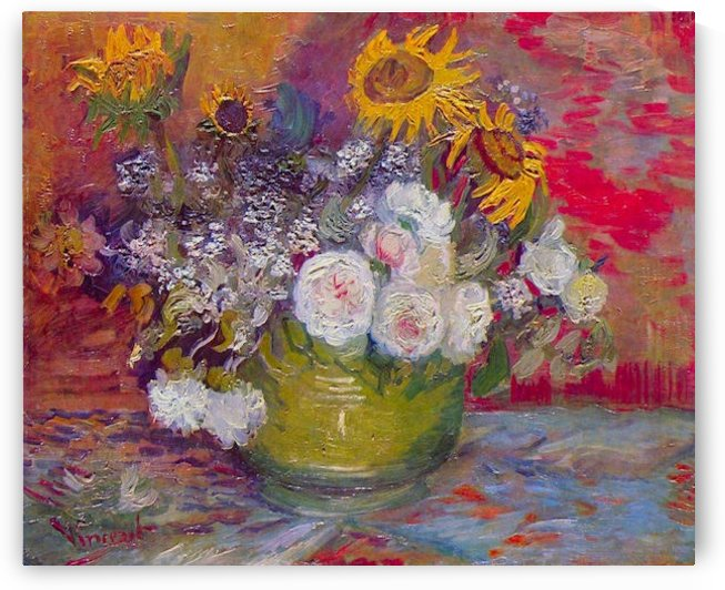Still-life with roses and sunflowers by Van Gogh by Van Gogh