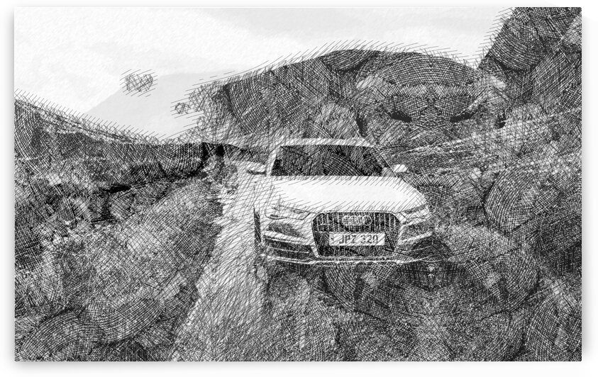 Audi A6 Allroad Modern Cars   Etching Poster by ASAR STUDIOS