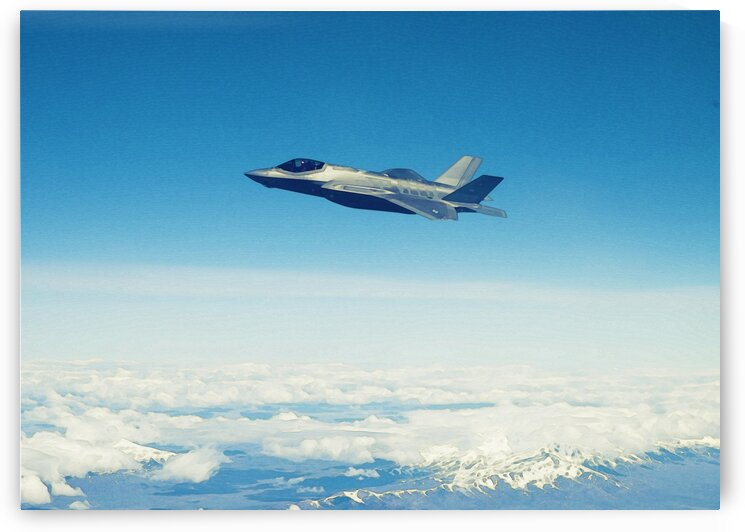 An F 35A Lightning II in watercolor ca 2020 by ASAR STUDIOS