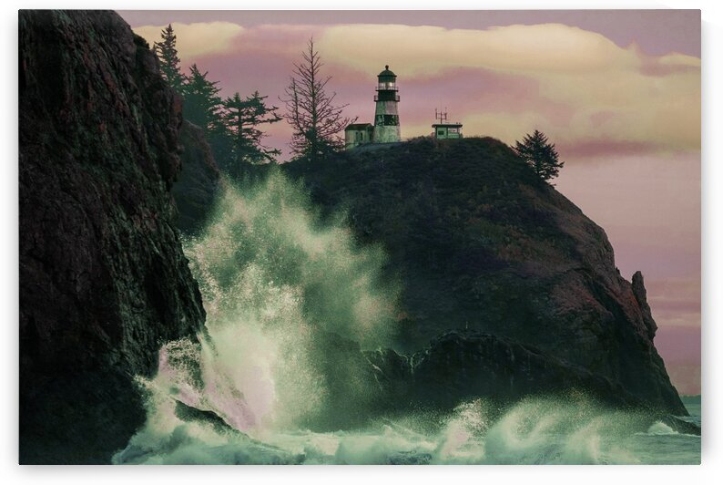 a Lighthouse Near Body of Water   Surreal Art by Ahmet Asar by ASAR STUDIOS