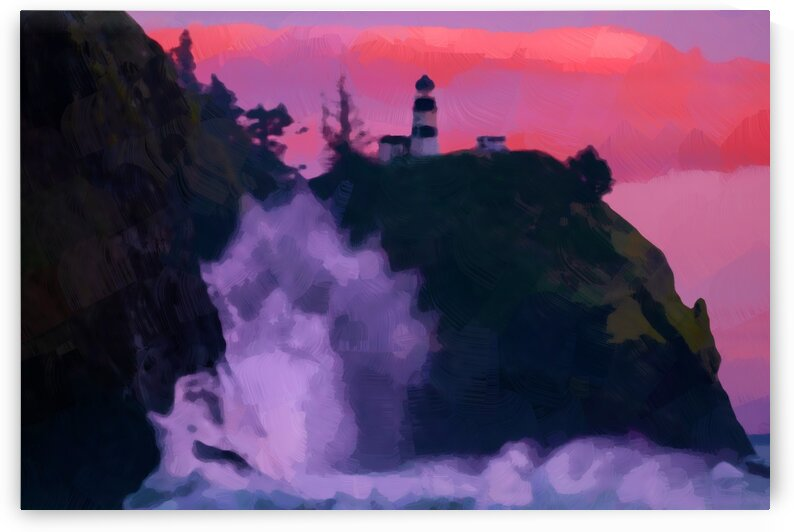 a Lighthouse Near Body of Water Abstract Oil Painting ca 2020 by Ahmet Asar by ASAR STUDIOS