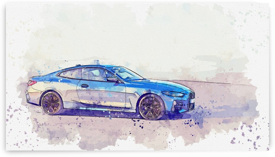 BMW 4 Series Hybrid    Watercolor ca 2020 by Ahmet Asar by ASAR STUDIOS