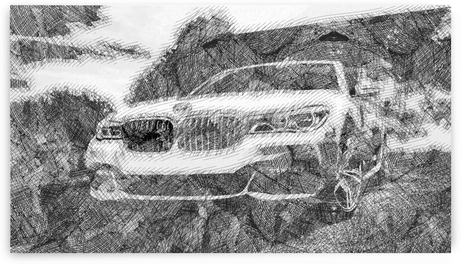 BMW 7 Series 2019 Modern Cars   Etching Poster by ASAR STUDIOS