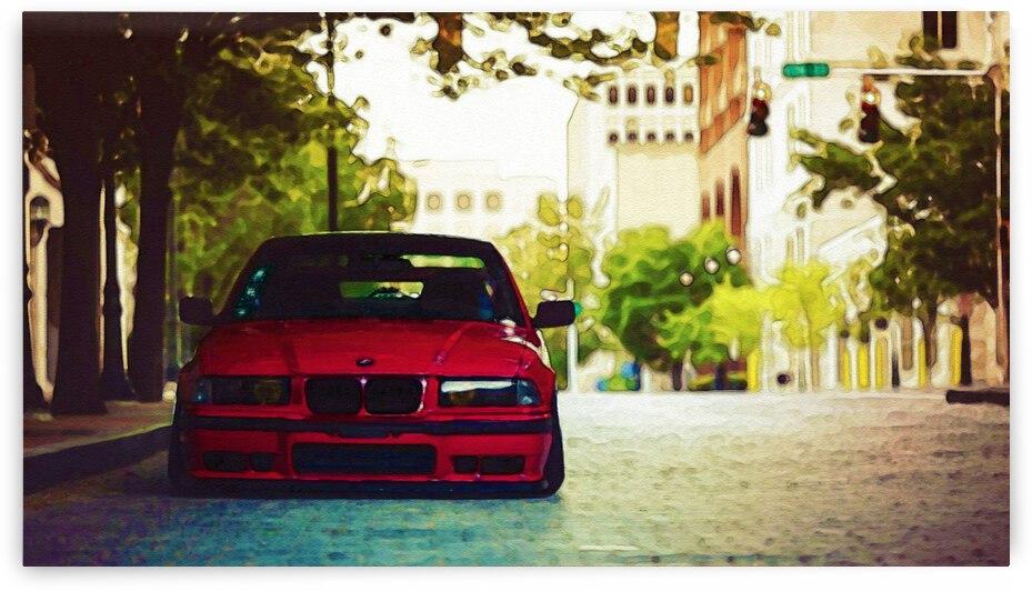 BMW E36 watercolor ca 2020 by Ahmet Asar by ASAR STUDIOS