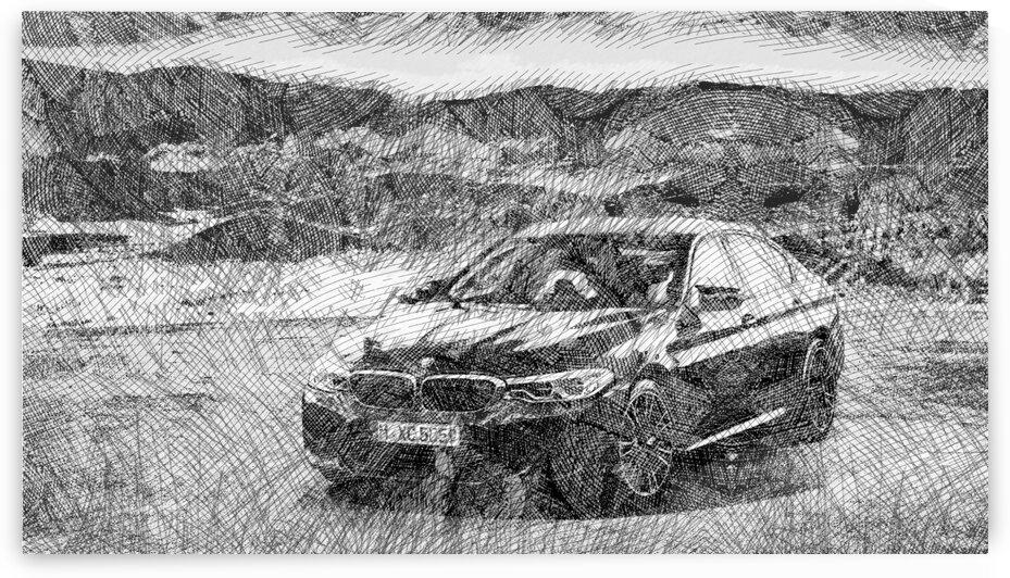 BMW M5 Blue Car Modern Cars   Etching Poster by ASAR STUDIOS