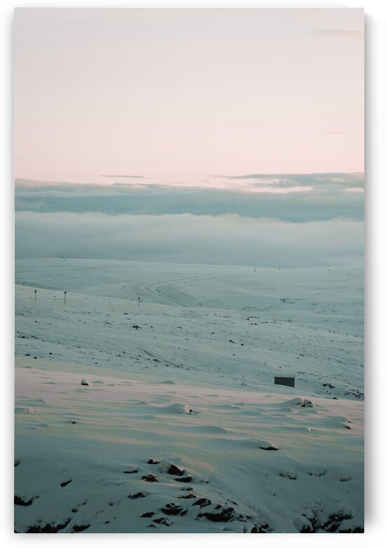 Black Cable Car on Snow Covered Field   Surreal Art by Ahmet Asar by ASAR STUDIOS