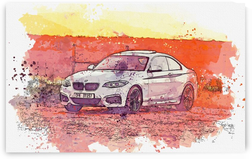 BMW and sunset    Watercolor ca 2020 by Ahmet Asar by ASAR STUDIOS