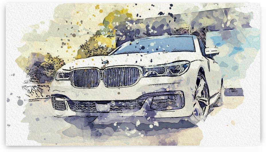 BMW 7 Series 2019    Modern Cars Poster  watercolors ca 2020 by Ahmet Asar by ASAR STUDIOS