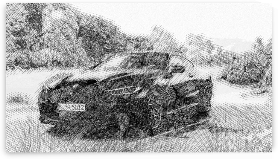 BMW M8 Modern Cars   Etching Poster by ASAR STUDIOS