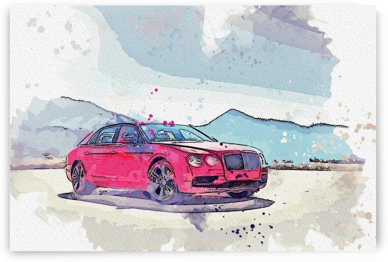 Bentley Flying Spur    Modern Cars Poster  watercolors ca 2020 by Ahmet Asar by ASAR STUDIOS