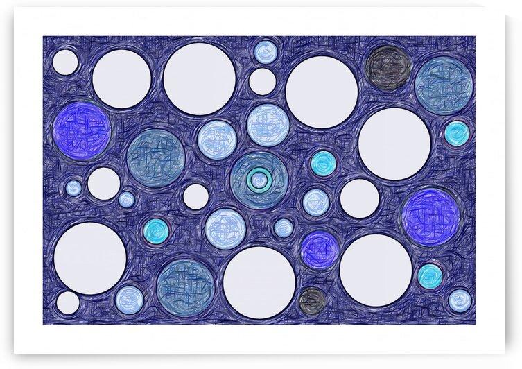 Blue Dots Abstract Art No 13 by Ahmer Asar by ASAR STUDIOS