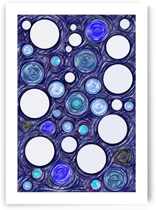 Blue Dots Abstract Art No 11 by Ahmer Asar by ASAR STUDIOS