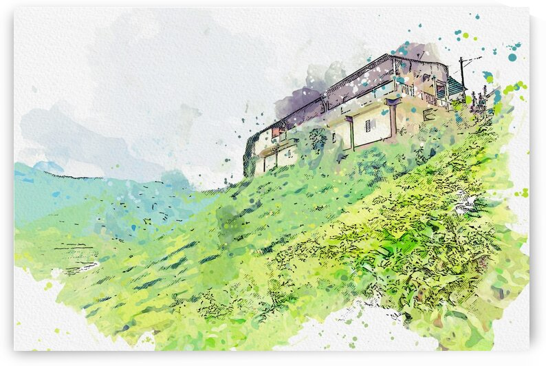Beige Painted House on the slope  watercolor  ca 2020 by Ahmet Asar by ASAR STUDIOS