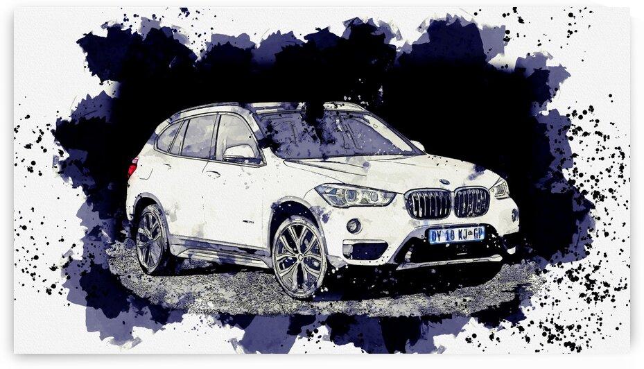 BMW X1 9    Watercolor ca 2020 by Ahmet Asar by ASAR STUDIOS