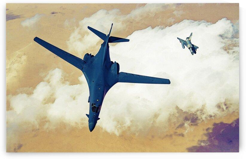 B 1B Lancer bomber in watercolor ca 2020 by ASAR STUDIOS