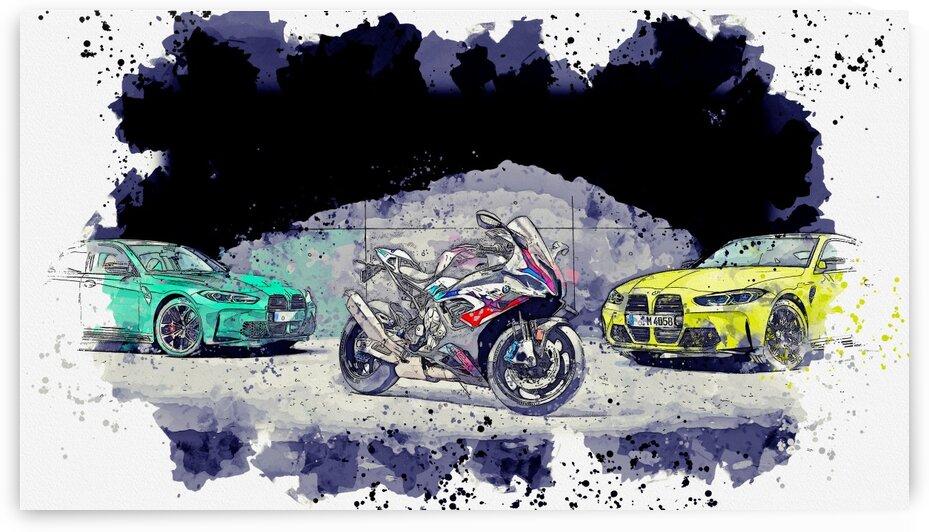 BMW M1000RR    Watercolor ca 2020 by Ahmet Asar by ASAR STUDIOS