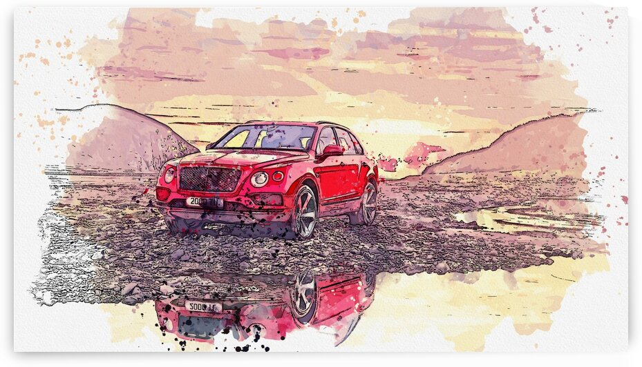 Bentley Bentayga    Watercolor ca 2020 by Ahmet Asar by ASAR STUDIOS