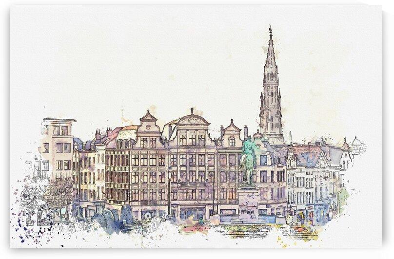 Brussels  Belgium 2    Watercolor ca 2020 by Ahmet Asar by ASAR STUDIOS