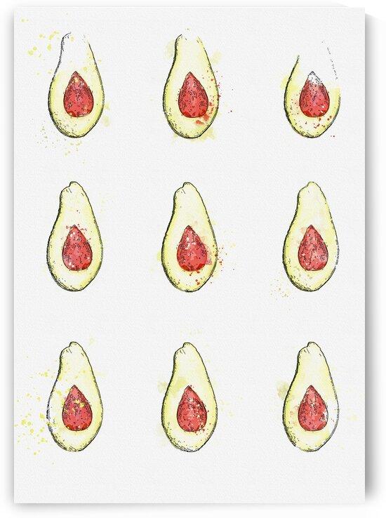 Avocado Fruit  watercolor  ca 2020 by Ahmet Asar by ASAR STUDIOS