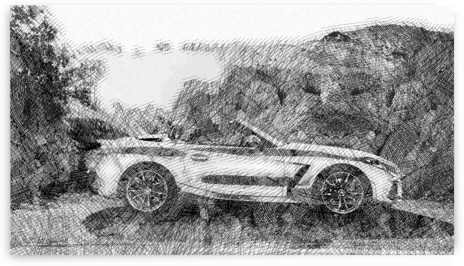 BMW Z4 Roadster Modern Cars   Etching Poster by ASAR STUDIOS