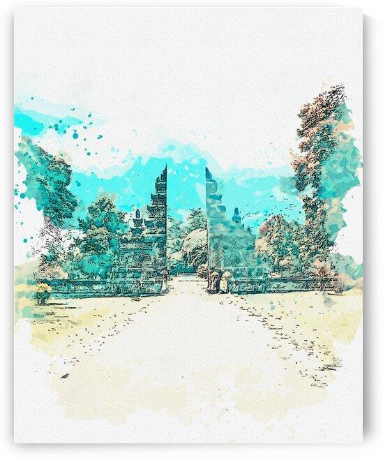 Bali  watercolor  ca 2020 by Ahmet Asar by ASAR STUDIOS