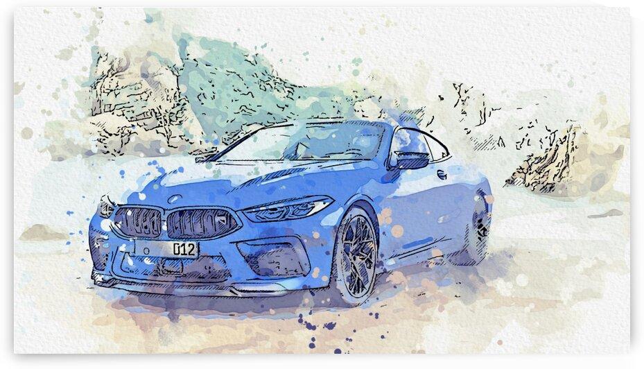 BMW M8    Modern Cars Poster  watercolors ca 2020 by Ahmet Asar by ASAR STUDIOS