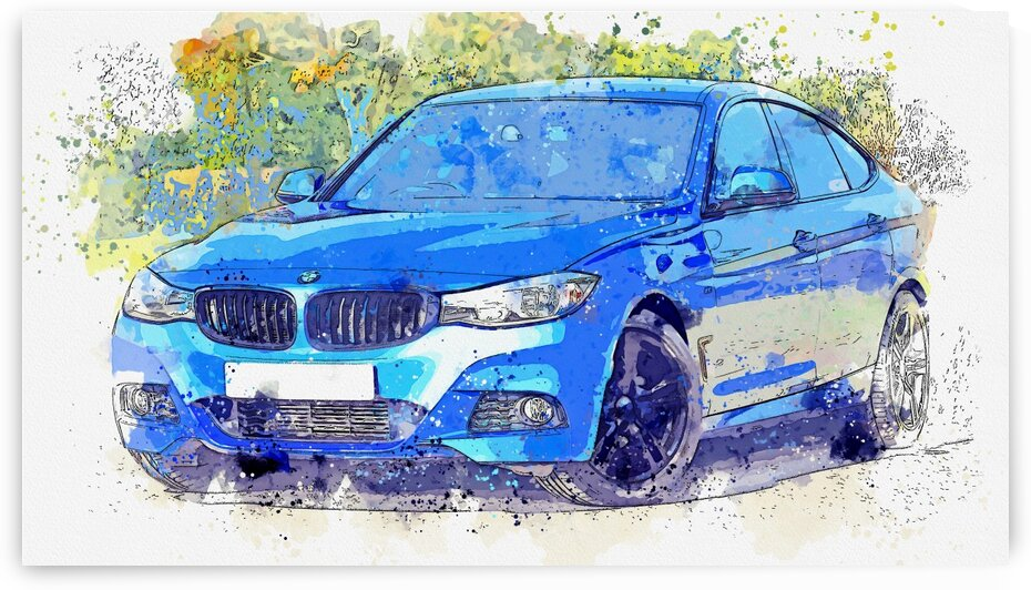 Blue Bmw Sedan    Watercolor ca 2020 by Ahmet Asar by ASAR STUDIOS