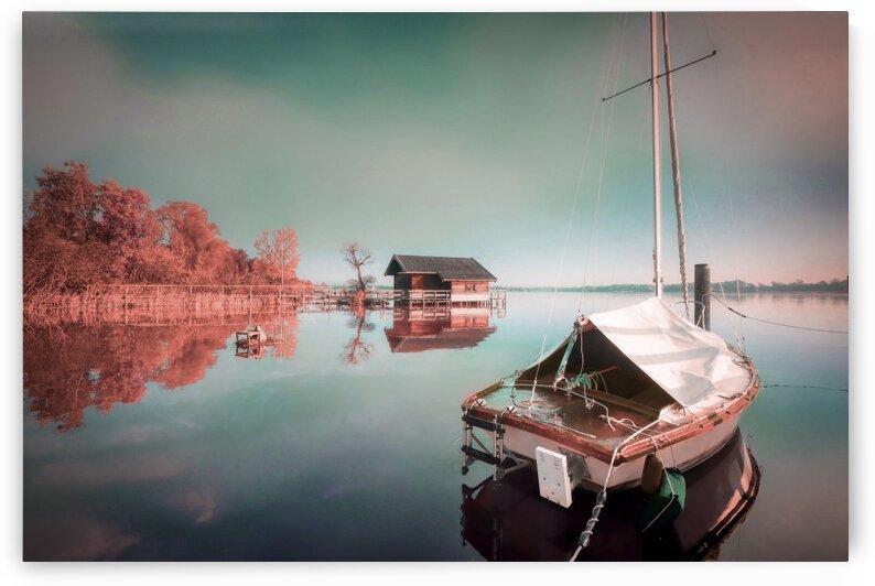 Boat House and Sailboat   Surreal Art by Ahmet Asar by ASAR STUDIOS