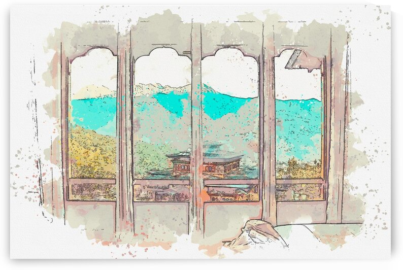 Bhutan 2    Watercolor ca 2020 by Ahmet Asar by ASAR STUDIOS