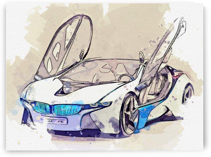 BMW    Modern Cars Poster  watercolors ca 2020 by Ahmet Asar by ASAR STUDIOS