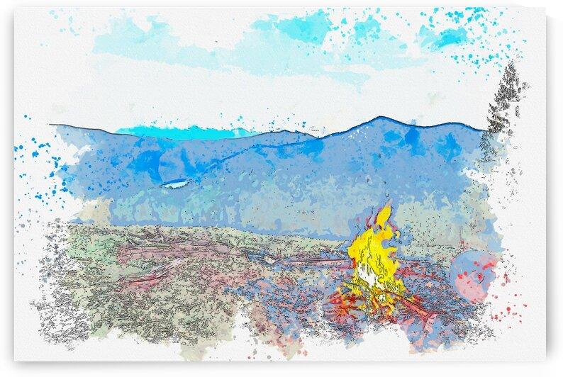 Bonfire  watercolor  ca 2020 by Ahmet Asar by ASAR STUDIOS