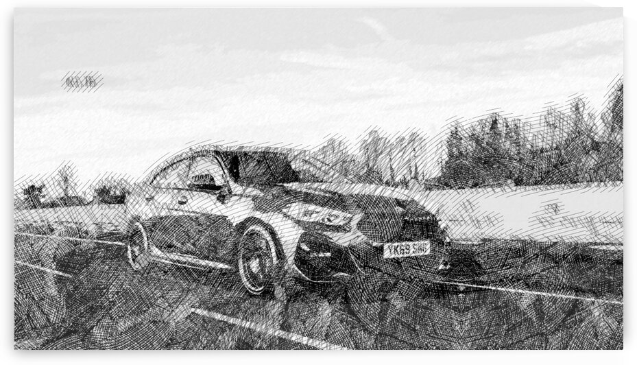 BMW 2 Series Modern Cars   Etching Poster by ASAR STUDIOS