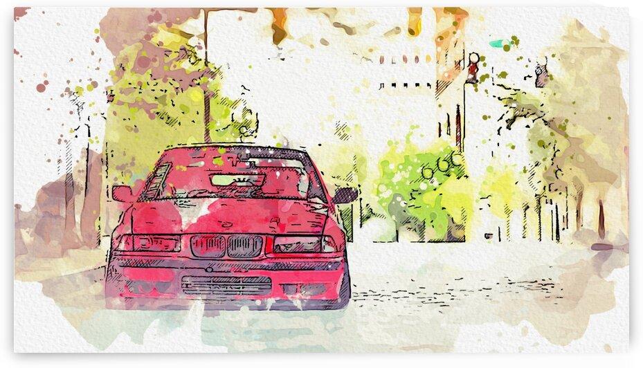 BMW E36    Modern Cars Poster  watercolors ca 2020 by Ahmet Asar by ASAR STUDIOS