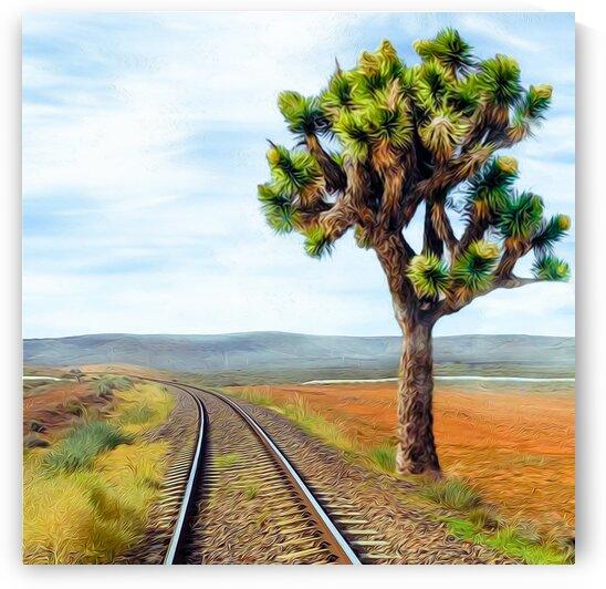 Railroad in the Texas desert. by Ievgeniia Bidiuk