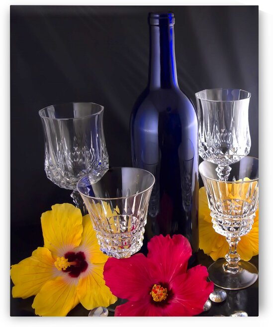 Blue Wine Bottle With Crystal and Tropical Flowers by Jacqueline Sleter