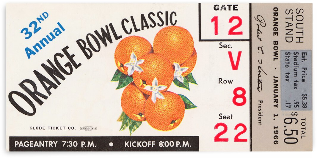 1966 Orange Bowl Alabama vs. Nebraska by Row One Brand