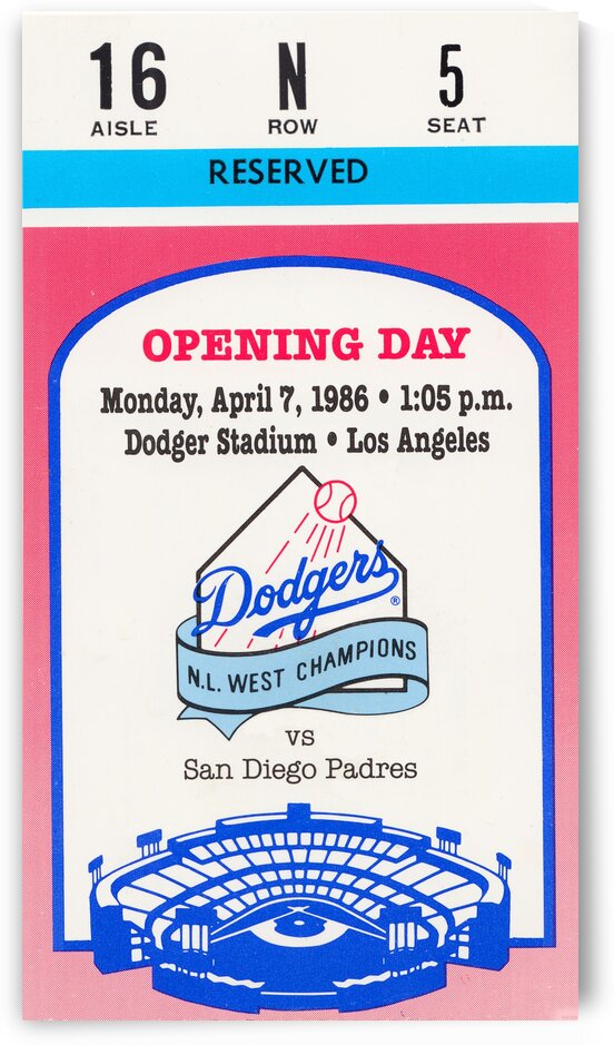 1986 Los Angeles Dodgers Opening Day Ticket Art by Row One Brand