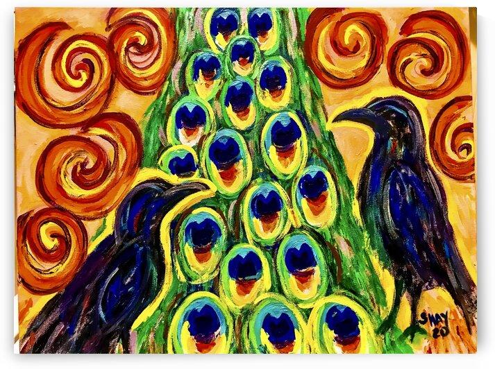 Black bird peacock tail by Shay Morrow